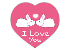 Vector showing love concept with rabbit cartoons Royalty Free Stock Image