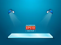 Vector showroom with spotlights. Vector showroom with glass shelf for your product Royalty Free Stock Image