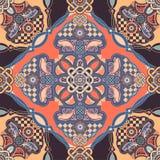Vector siertegelpatroon Kleurrijk vierkant ontwerp, etnische stijl vector illustratie