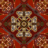 Vector siertegelpatroon Kleurrijk vierkant ontwerp, etnische stijl royalty-vrije illustratie