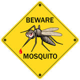 Vector Sign: Beware Mosquito. Vector Illustration for Insect Control Service. Angry Mosquito on Yellow. Sticker Design Stock Photos