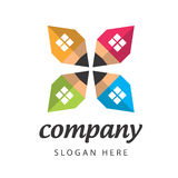Logo construction company. Vector sign of construction of colored pencils at home Stock Photo