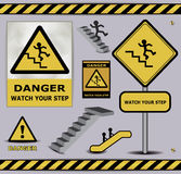 sign danger watch your step warning collection Stock Image