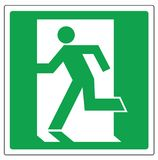 Vector sign evacuation exit. Green square sign with running man at the door Royalty Free Stock Image