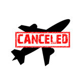 Vector sign of the flight is canceled. Flight ban icon Royalty Free Stock Image
