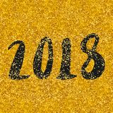2018 vector sign on golden background. 2018 black vector hand drawn sign on golden background Royalty Free Stock Photography