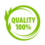 Mark of outstanding quality. Vector sign of high quality green Stock Images