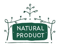 Vector sign Natural product which show idea of ecology, naturality and freshness Royalty Free Stock Photos