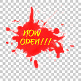 Sign : Now Open at Red Water Color Splash. Vector Sign : Now Open at Red Water Color Splashn royalty free illustration