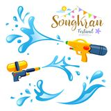 Vector sign songkran festival and water collections of Thailand Royalty Free Stock Images