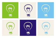 Vector sign or symbol of creative invention or eco. Light bulbs vector icon set on green, beige, blue and navy background. Sign or symbol of creative invention stock illustration