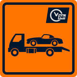 Vector sign with truck tows. Stock Photography