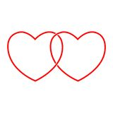 Vector sign two hearts Stock Images