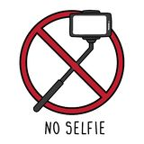 Sign warning about no selfie on white background stock illustration