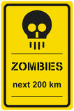 Vector sign zombies next 200 km. Vector road sign zombies next 200 km Stock Photos