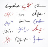 Vector Signature fictitious Autograph on white Royalty Free Stock Image