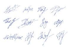 Vector signature. handwritten sign set. fictitious autograph text. illustration. Vector signature. handwritten sign icon set. fictitious autograph text. doodle royalty free illustration