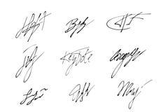 Vector signature. handwritten sign set. fictitious autograph text. illustration. Vector signature. handwritten sign icon set. fictitious autograph text. doodle vector illustration