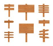 Vector Signposts Illustration, Wooden Pointers Set Isolated on White Background, Wood Texture. vector illustration
