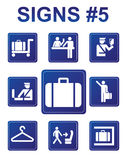 Vector signs. Vector blue signs about inspection, documents, baggage Royalty Free Stock Photo