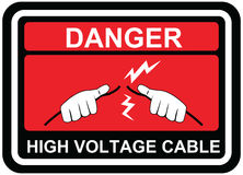 Vector signs of Danger High Voltage label signs. Danger signs with aware hand touch against electric cable. Vector signs of Danger High Voltage label signs Stock Image