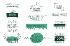 Vector signs Natural and Organic product Stock Photo
