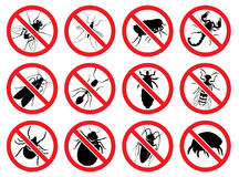 Vector signs Stop for the harmful, stinging and parasitizing   insects. Set of vector signs: Stop for the harmful, stinging and parasitizing   insects Royalty Free Stock Photos
