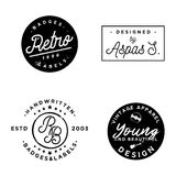 Vector signs, vintage minimalism badges, retro old labels. On different themes Stock Photo