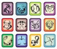 Vector signs of zodiac. Zodiac   sign  horoscope emblem  astrology medallion Stock Images