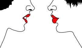 Vector silhouet twee womans vector illustratie