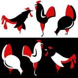 Vector silhouet van kippen Stock Foto's