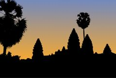 Vector silhouette of Angkor Wat temple in Cambodia with orange s royalty free illustration