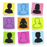 Vector Of Silhouette Avatars In Adhesive Notes Royalty Free Stock Images
