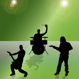 Vector silhouette of the band. Vector silhouette of the band on a colored background Stock Photo