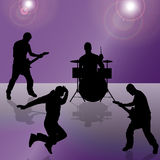 Vector silhouette of the band. Vector silhouette of the band on a colored background Royalty Free Stock Images