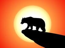 Vector silhouette bear on a rock on a sunset Stock Photos