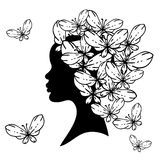 Vector  silhouette of beautiful woman with Stock Images