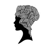 Vector  silhouette of beautiful woman with Stock Photo