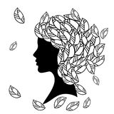 Vector  silhouette of beautiful woman with Stock Photography