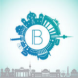 Vector silhouette of Berlin Germany. City skyline. Stock Photography
