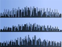 Vector  silhouette of big city town, skyscrapers building, business centers. Twilight, blue sunset, panorama of Royalty Free Stock Image