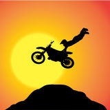 Vector silhouette of a biker. Stock Photography