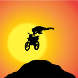 Vector silhouette of a biker. Royalty Free Stock Photo