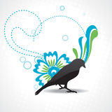 Vector silhouette of bird with beautiful design Stock Image