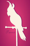 Vector silhouette of bird. Parrot on  perch. Paper art Stock Photo
