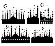 Vector silhouette of The Blue Mosque. With star and moon Royalty Free Stock Image
