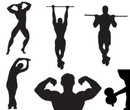 Vector Silhouette of bodybuilder Black Stock Images