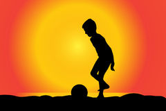 Vector silhouette of boy. Stock Photos