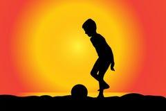 Vector silhouette of boy. Vector silhouette of boy on a beach at sunset Stock Photos
