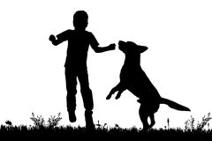 Vector silhouette of a boy with a dog. Royalty Free Stock Images